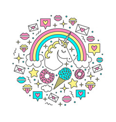 with unicorn rainbow clouds vector image