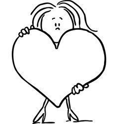 woman hold big heart - black line vector image