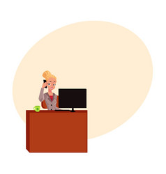 Young blond businesswoman secretary answering vector