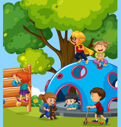 young children playing in playground vector image