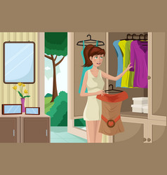 young woman selecting an outfit vector image