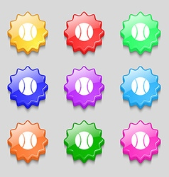 baseball icon sign symbol on nine wavy colourful vector image vector image