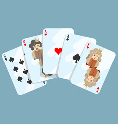 deck of cards composition on blue on vector image