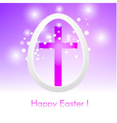 easter egg with cross on pink background with glow vector image vector image