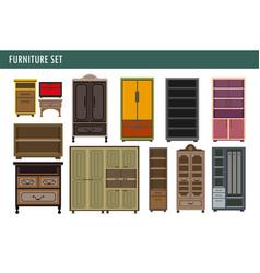home furniture cabinet bookcase lockers wardrobe vector image vector image