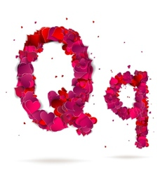 Letter q made from hearts love alphabet vector