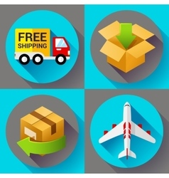 Shipping and delivery icons set Flat design style vector image vector image