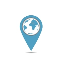 Blue world map pointer vector image