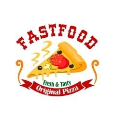 Fast food pizza slice label vector image