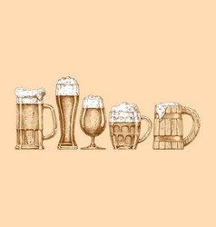 set of beer glasses and mugs vector image vector image