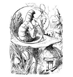 Smoking Caterpillarin Alice in Wonderland vector image