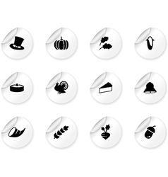 Stickers with thanksgiving icons vector image vector image