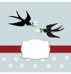 Swallows and flowers vector image vector image