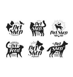 pet shop label set animals dog cat parrot vector image vector image