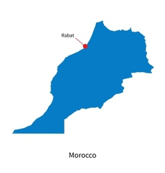 Detailed map of Morocco and capital city Rabat vector image