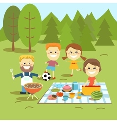 Family weekend Happy family picnic vector image vector image