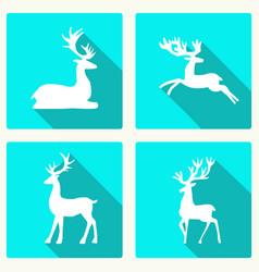 set of silhouette deer vector image