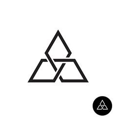 Triangle geometric knot outline logo Black corner vector image vector image