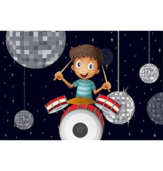 A young drummer at the disco house vector
