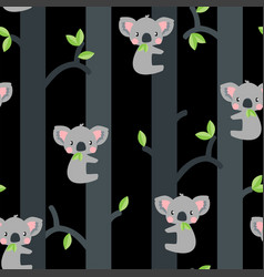Adorable koalas in trees seamless pattern vector