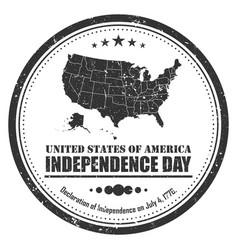 america map stamp symbol grunge design 4th of vector image
