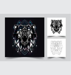 angry bear artwork vector image