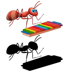 Ant with xylophone music instrument vector