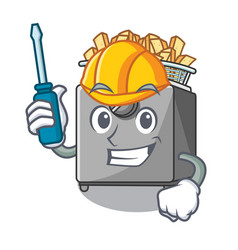 automotive deep fryer machine isolated on mascot vector image