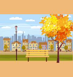 Autumn landscape in the park city houses vector