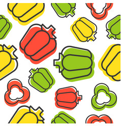 bell pepper seamless pattern outline with shadow vector image
