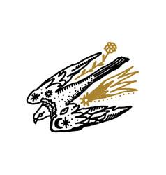 Bird pray falcon boho magical vintage vector