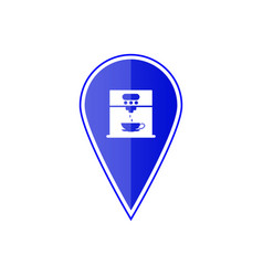 Blue map pointer with coffee maker machine vector