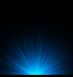 blue rays rising on dark background with space vector image