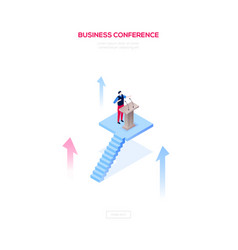 Business conference - modern isometric web vector