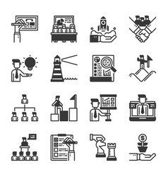 business management icon set vector image