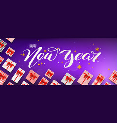calligraphic handwritten lettering happy new year vector image