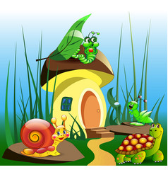 cartoon a childrens mushroom house in the vector image