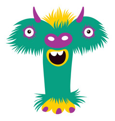 cartoon capital letter t from monster alphabet vector image