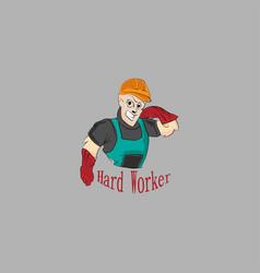 cartoon hard worker vector image