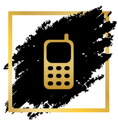 Cell phone sign golden icon at black spot vector
