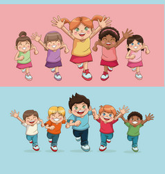Children kids childhood friendship happiness vector
