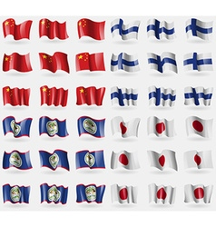 China Finland Belize Japan Set of 36 flags of the vector image