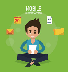 color poster of mobile technology with man sitting vector image