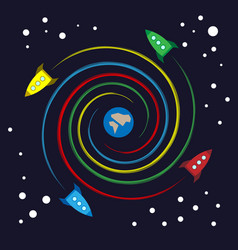 colorful toy rockets flying spiral around earth vector image
