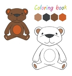 Coloring book bear kids layout for game vector image