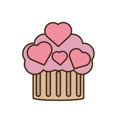 cupcake pink hearts wedding snack icon vector image