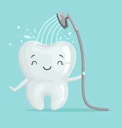 Cute smiling healthy white cartoon tooth character vector