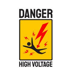 danger symbol high voltage sign skull lightning vector image