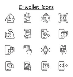 e-wallet digital money mobile banking icon set in vector image