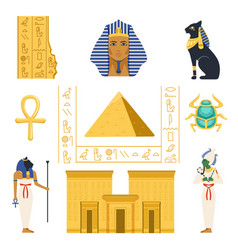 egypt set egyptian ancient symbols colorful vector image